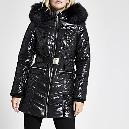 Petite black high shine longline padded coat