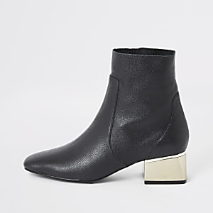 Black gold tone block heel boots