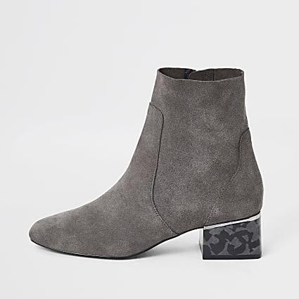 Grey printed bock heel boots