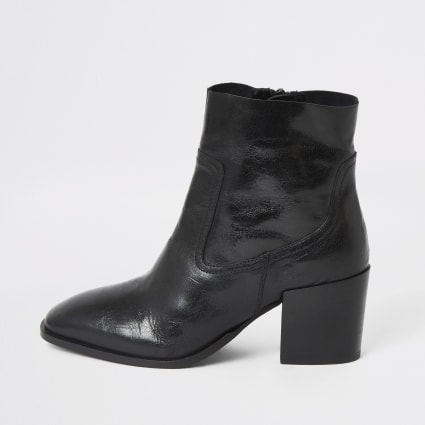 Black eyelet  block heel leather boots