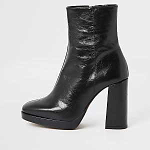 Black leather block heel sock boot
