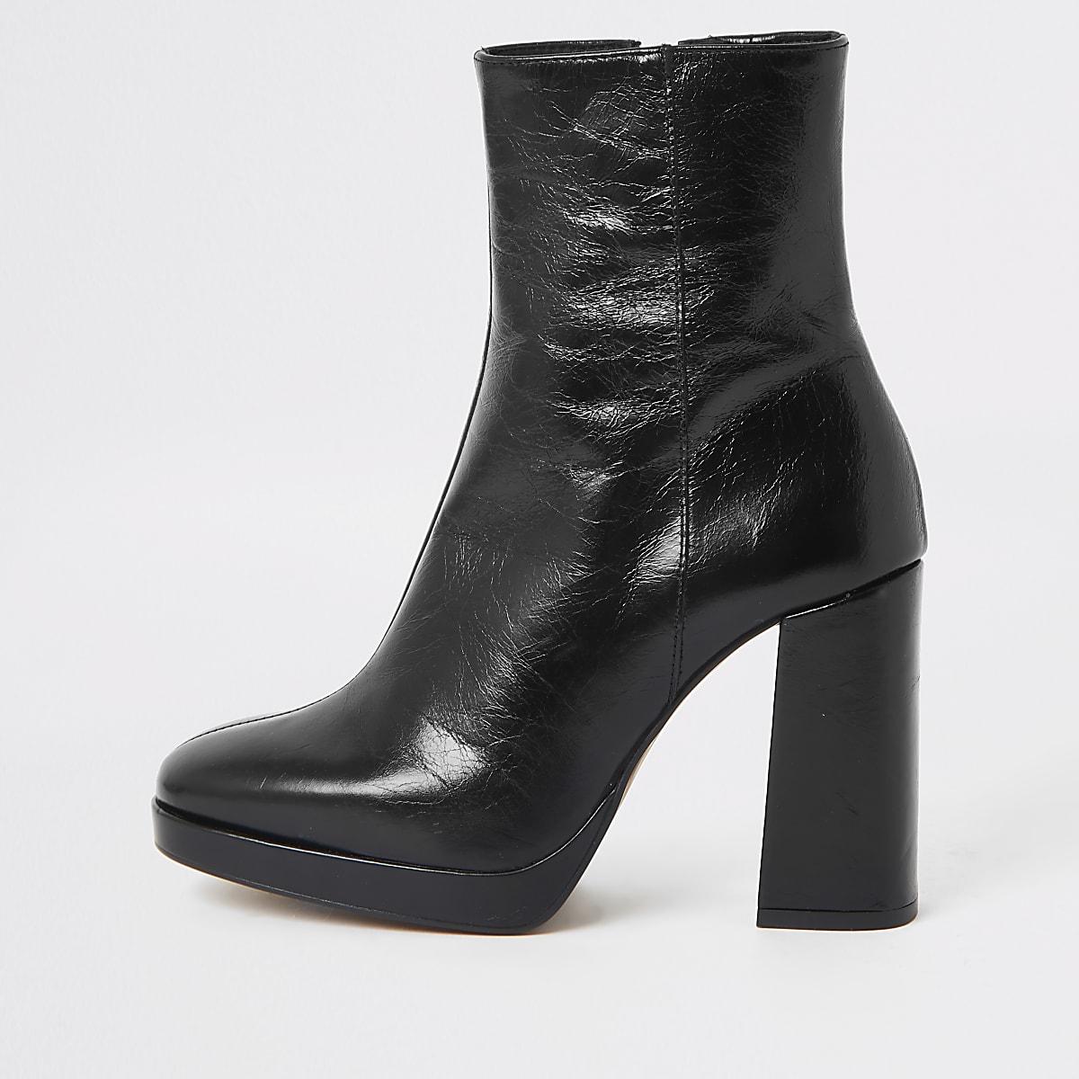Black leather block heel sock boot