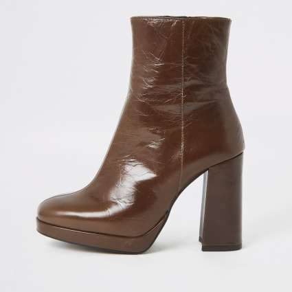 Dark brown leather block heel sock boot