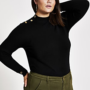 Plus black turtle neck jumper
