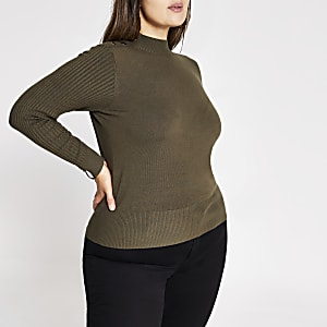 Plus khaki knitted high neck top