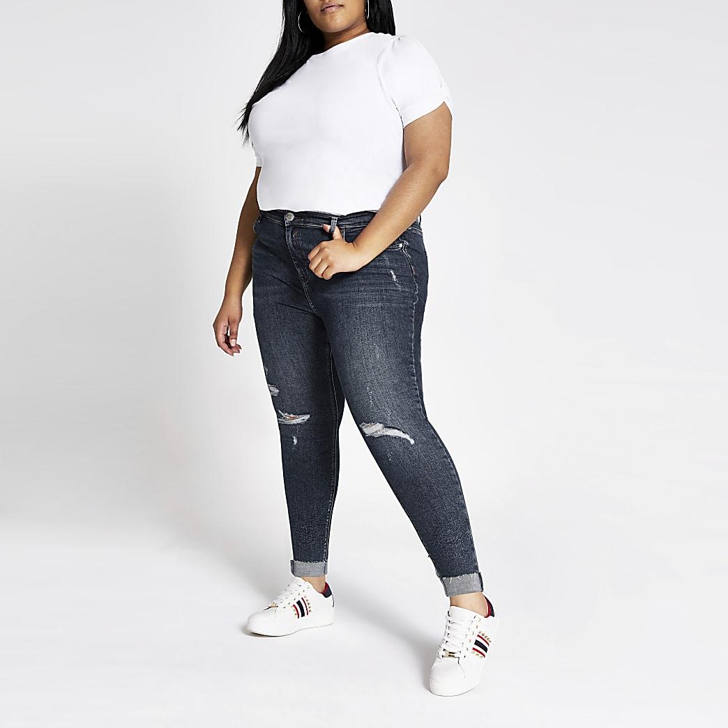 Plus dark blue Amelie super skinny rip jeans