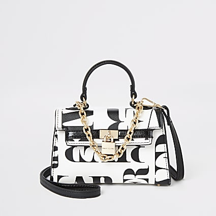 White RI print mini tote bag