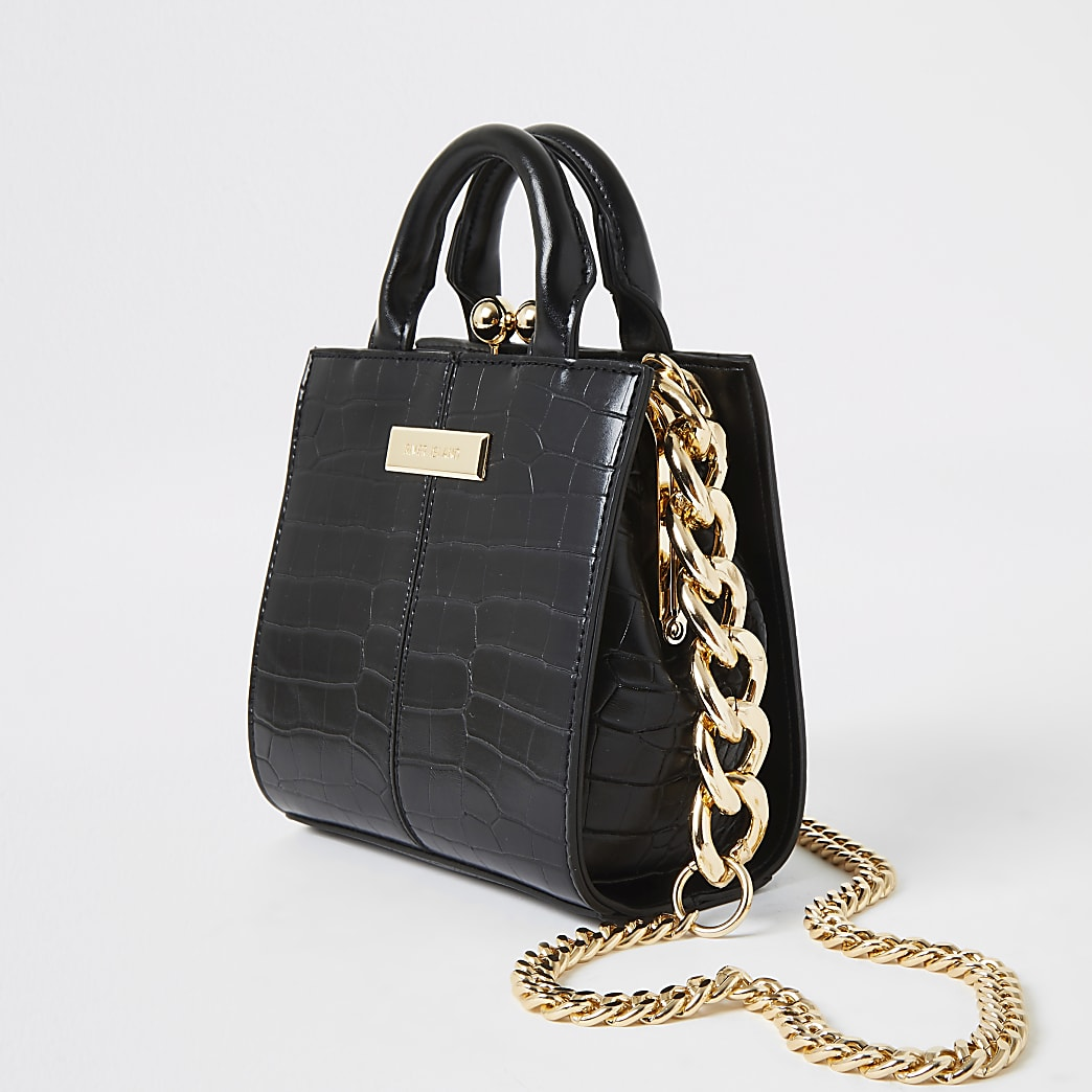 Black croc mini grab handle bag