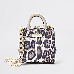 Brown tiger print mini cross body bag