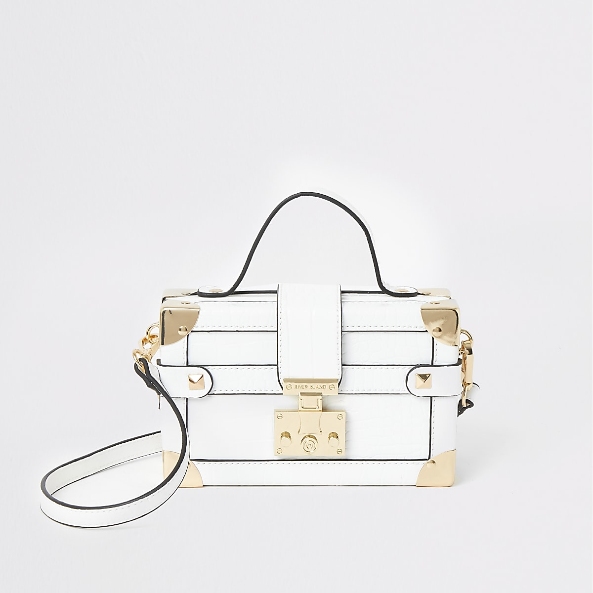 White lock front trunk cross body bag