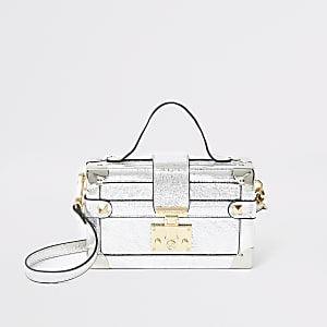 Silver lock front trunk cross body bag