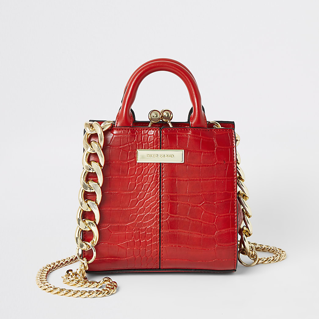 Mini sac bandoulière rouge effet croco en relief