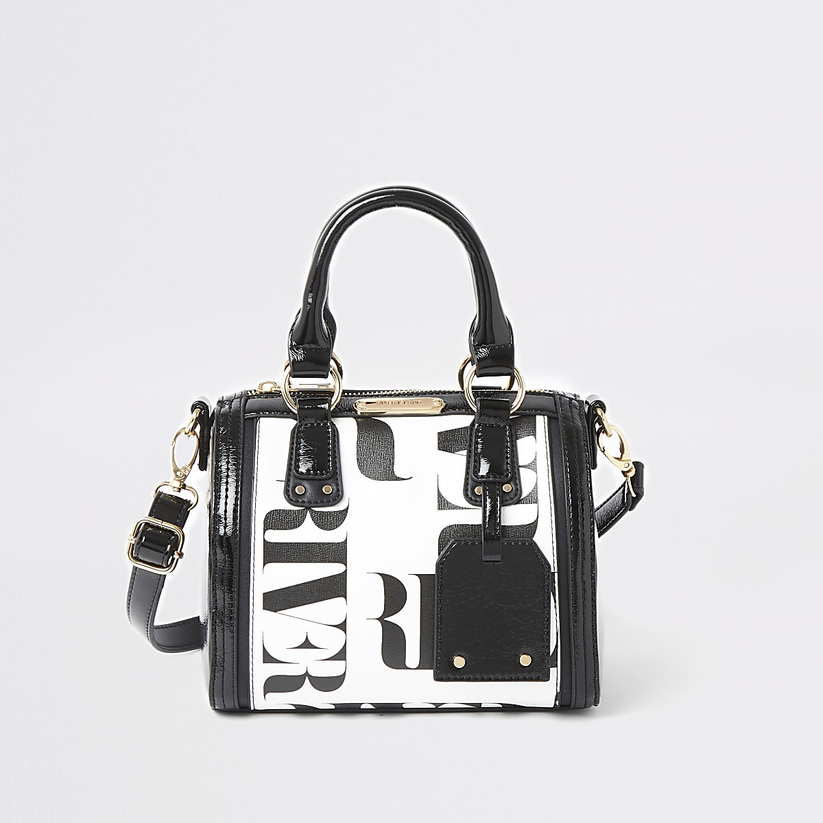 White RI contrast bowler cross body bag
