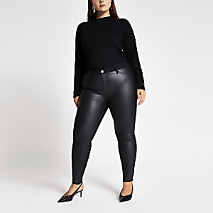 Plus Molly – Jegging en denim et PU noir