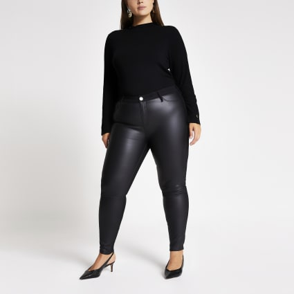 Plus black PU denim Molly jeggings