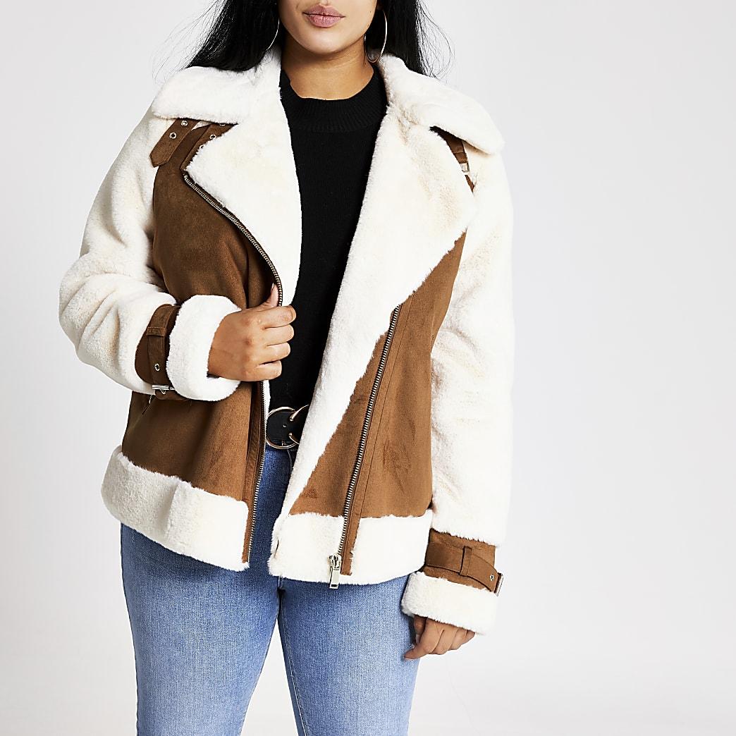 Plus beige borg aviator jacket