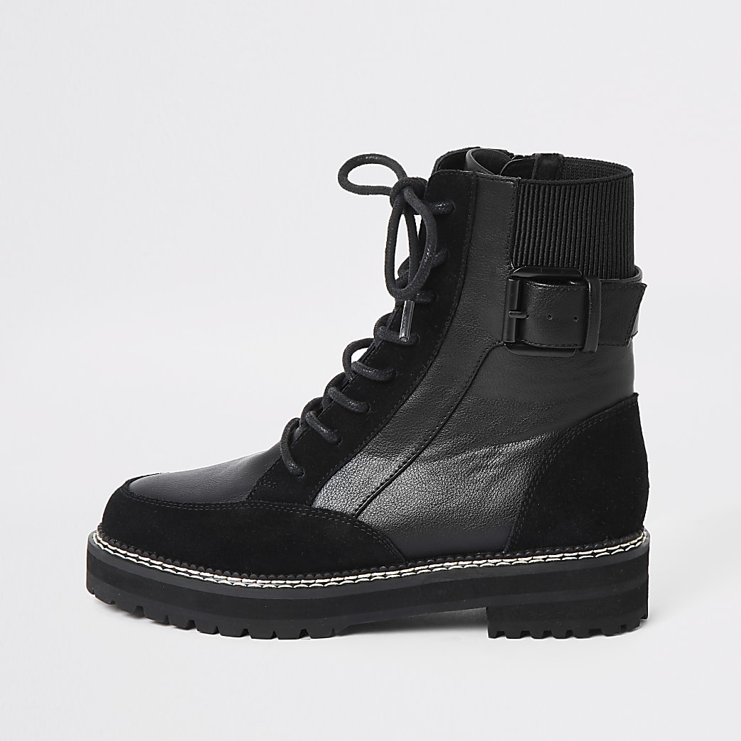 Black suede lace-up chunky biker boots