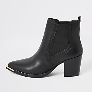 Bottines Chelsea style western en cuir noir