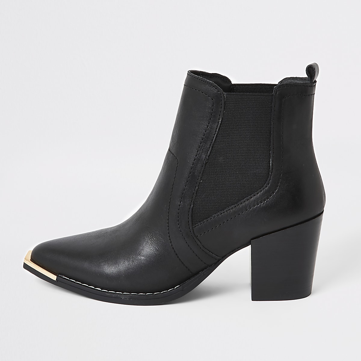 Black leather western chelsea boots