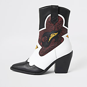 White leather cutout cowboy ankle boots