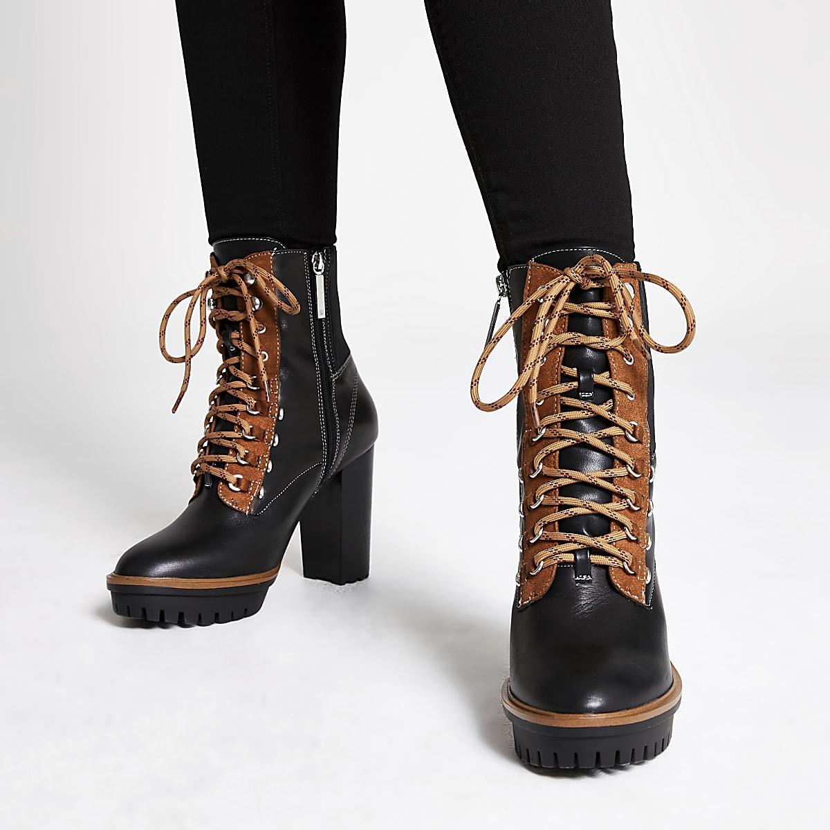57134930f3e Black heeled lace up hiking boots