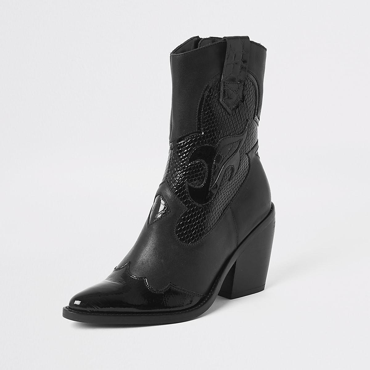 a2e3f50738b Black leather cutout cowboy ankle boots