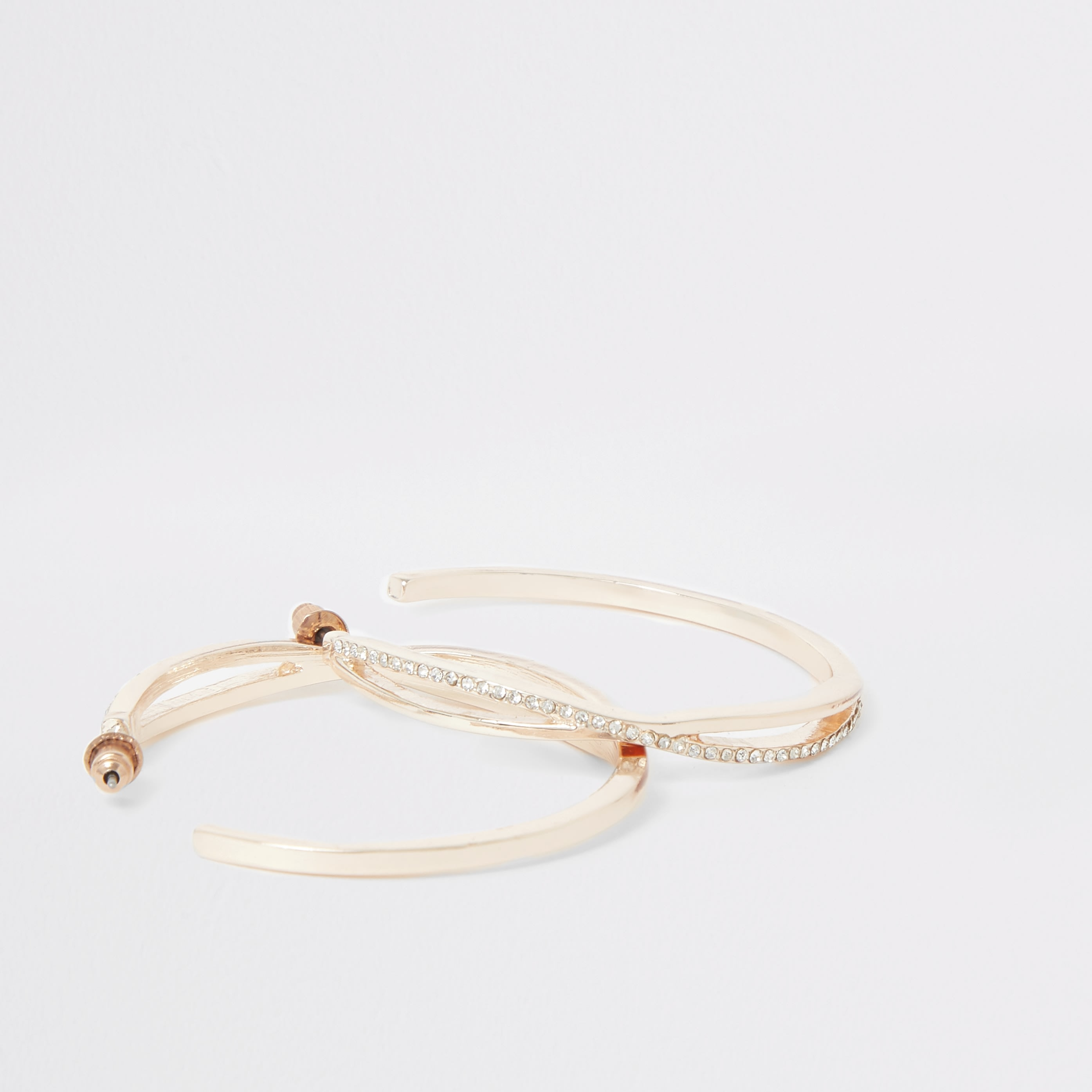 RIVER ISLAND   Womens Rose Gold Colour Diamante Pave Hoop Earrings   Goxip