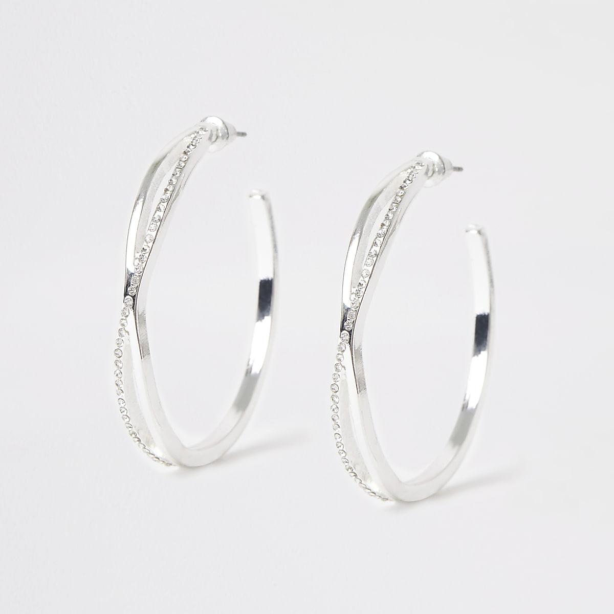 Silver color twist rhinestone hoop earrings