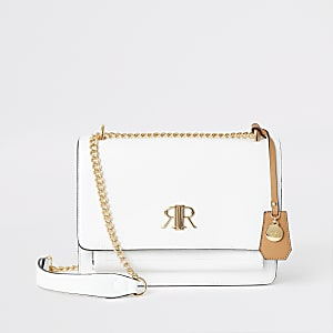White RI underarm satchel bag
