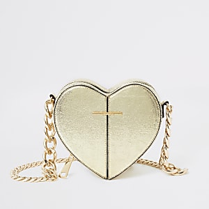 Gold heart shaped cross body bag