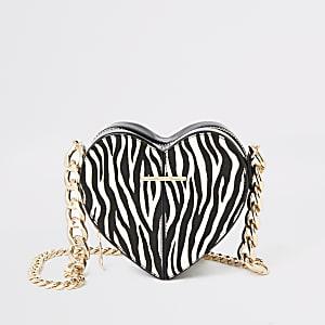 White zebra print heart shaped bag