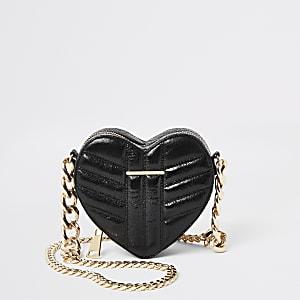 Zwarte hartvormige doorgestikte crossbodytas