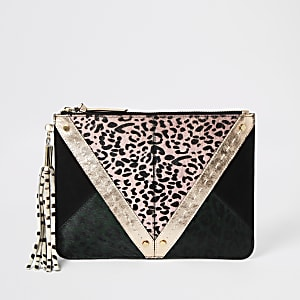 Pink animal print leather panel clutch bag