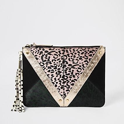 Pink animal print leather panel clutch bag
