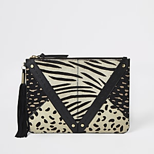 Cream animal print leather panel clutch bag