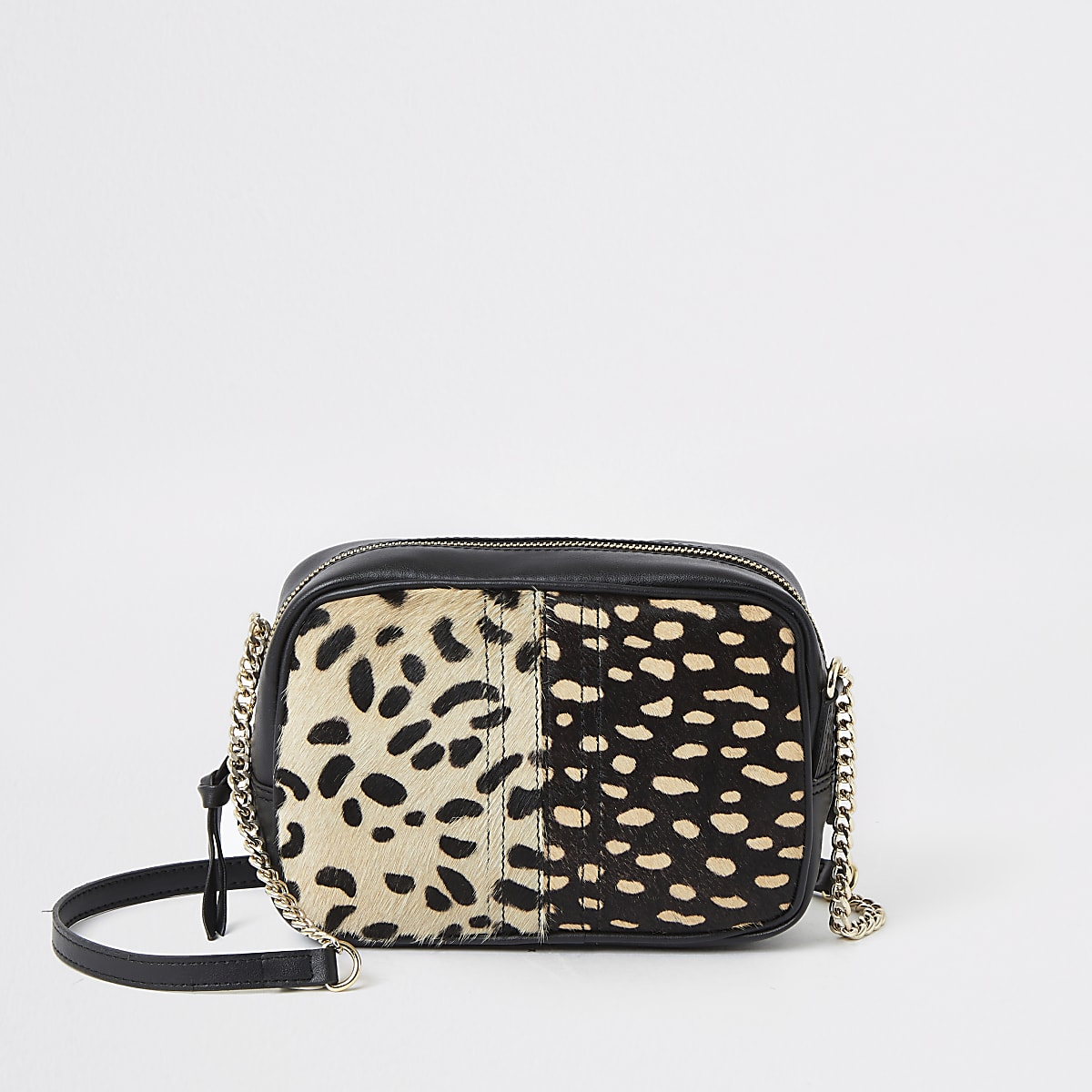 Cream animal print cross body bag
