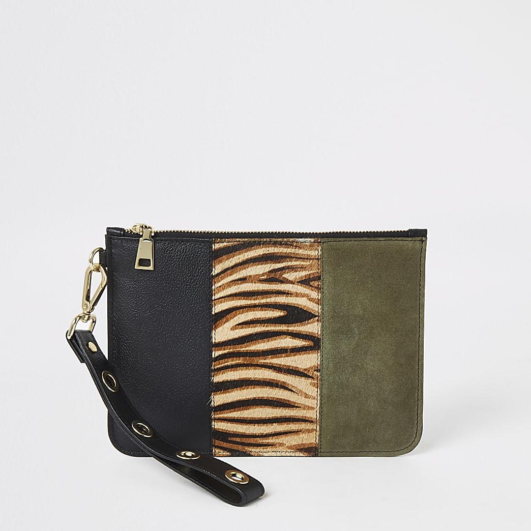 Black zebra print leather pouch clutch bag