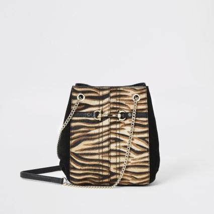Beige leather tiger print slouch bag