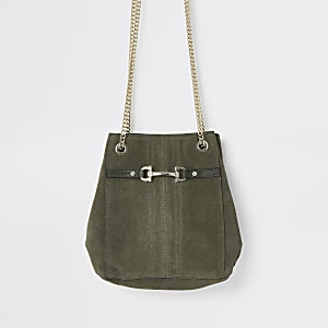 Khaki leather snaffle front mini slouch bag