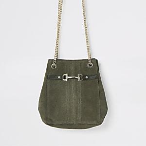 Khaki leather snaffle front mini slouch bag