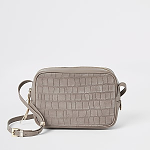 Beige leather croc mini boxy cross body bag