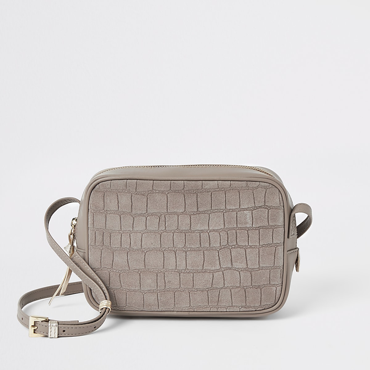 Beige leather croc mini boxy cross body bag