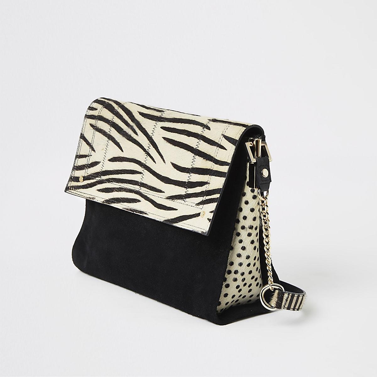 Black Leather Zebra Print Underarm Bag