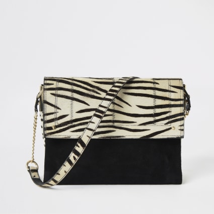 Black leather zebra print underarm bag