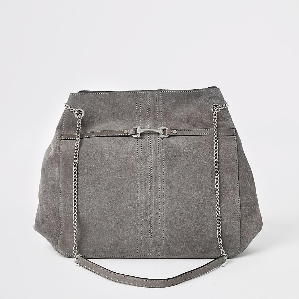 Grijze leren ruime tas met detail voor
