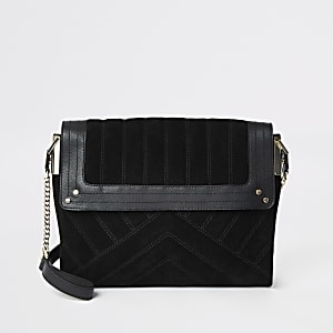Black leather quilted underarm bag