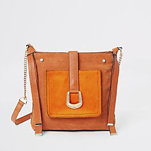 Orangefarbene Kuriertasche zum Umhängen aus Leder
