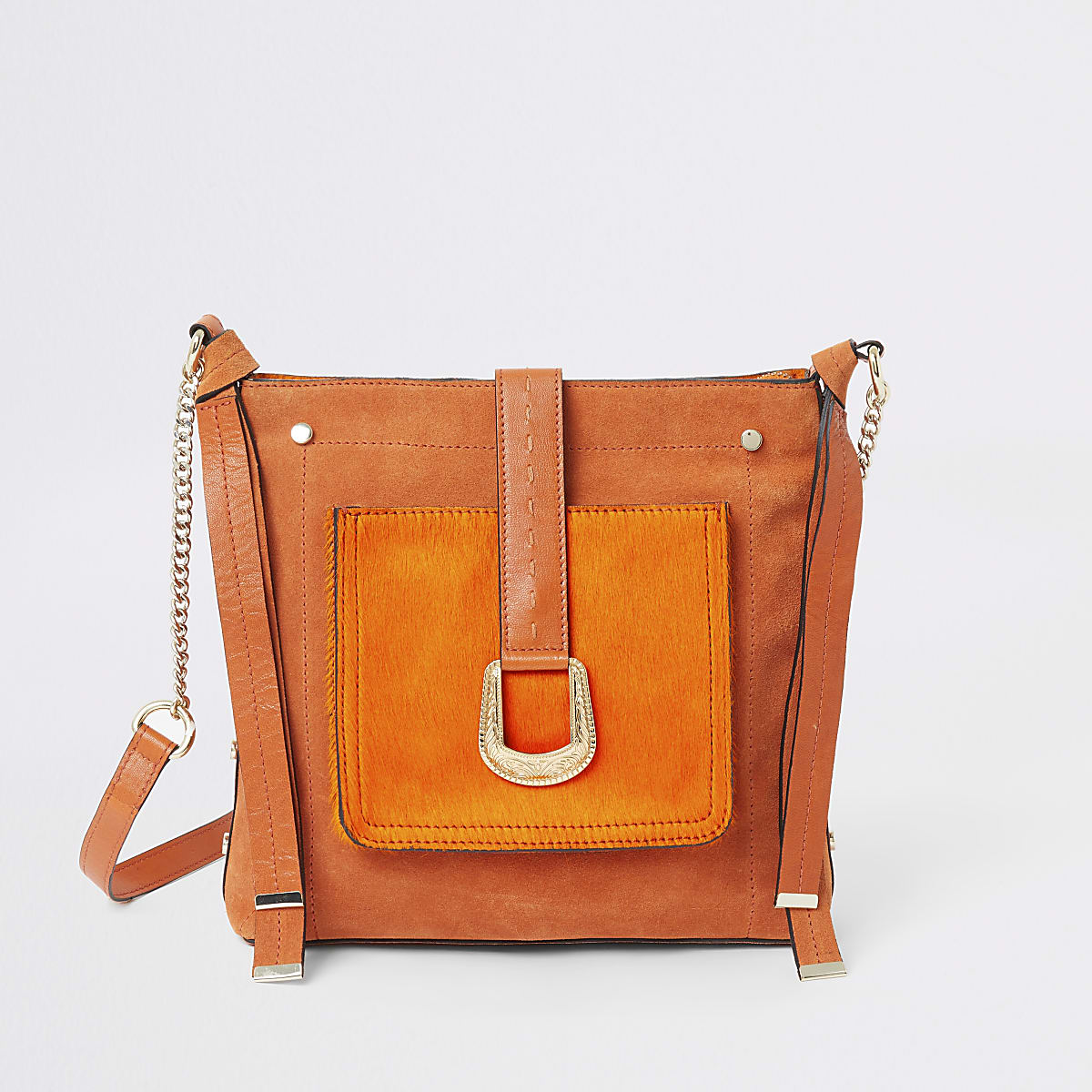 Orange leather cross body messenger bag