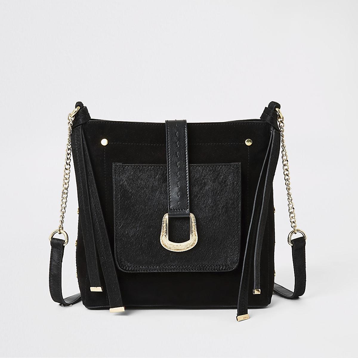 Black leather buckle front messenger bag