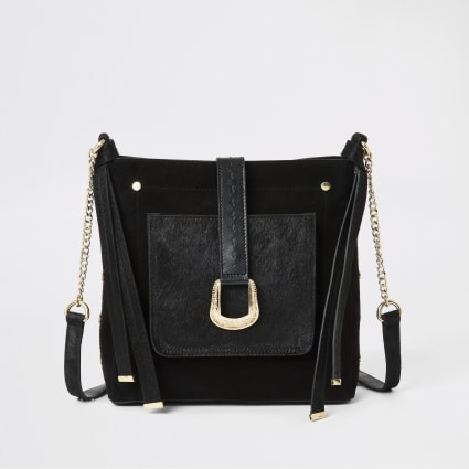 Black leather buckle front messenger bag